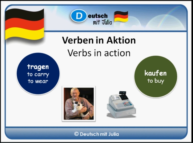 German for beginners - The vebs buy and to carry. Practice your German with 'Deutsch mit Julia'.